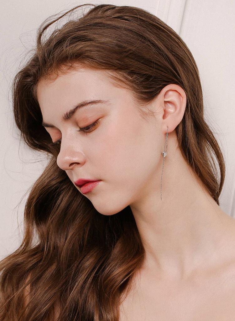 甜蜜愛心 925純銀流蘇耳環