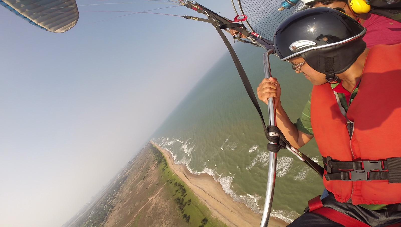 Paramotoring adventure on ECR, Chennai- fly over the beach