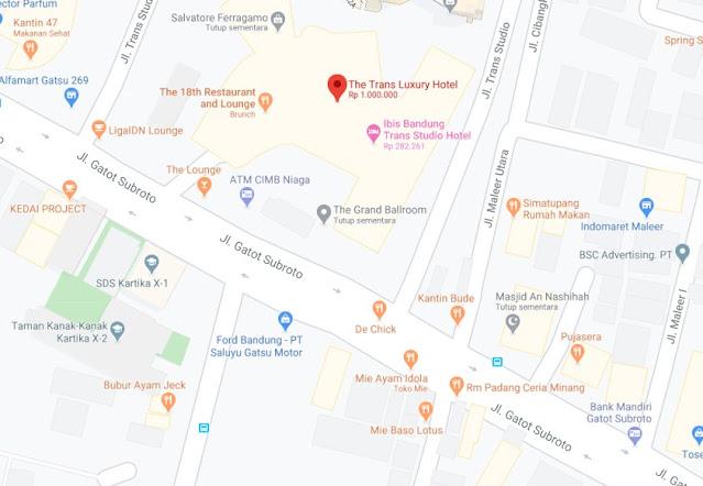 Map Letak Hotel The Trans Luxury Bandung
