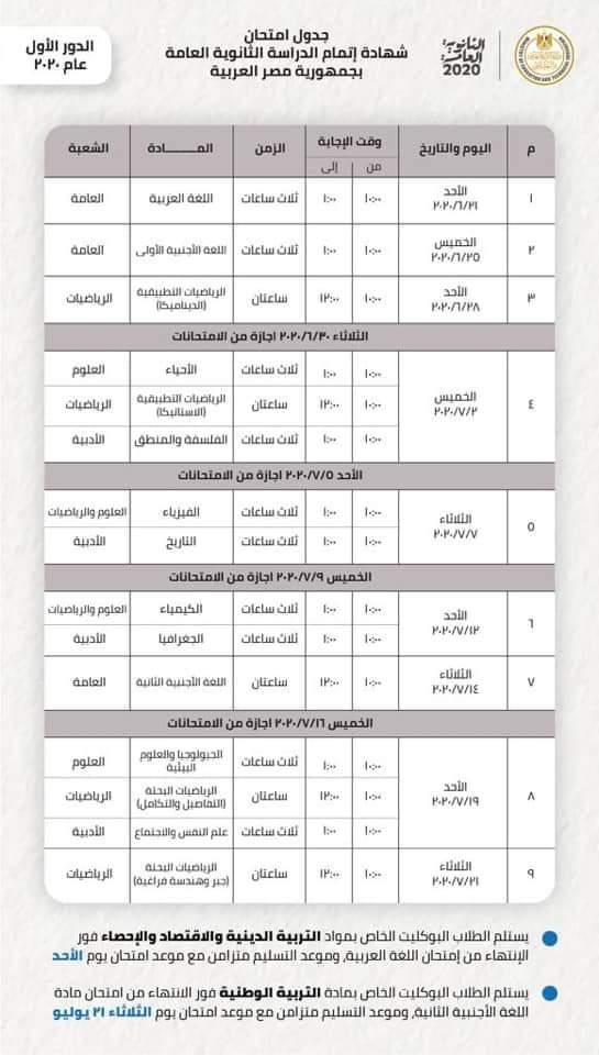 جدول امتحانات الثانوية العامة 2020 المعدل بعد الغاء المواد غير المضافة للمجموع من جدول الثانوية العامة