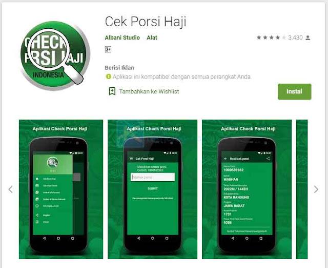 mengecek nomor porsi haji menggunakan aplikasi Play Store