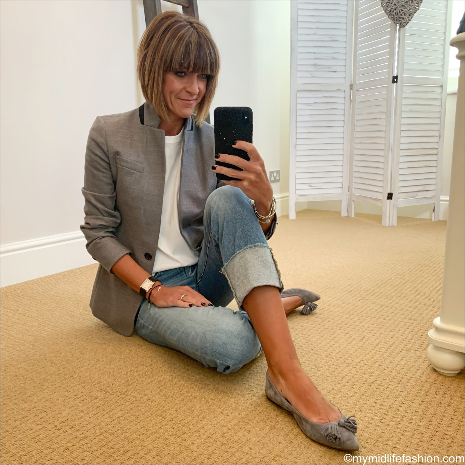 my midlife fashion, j crew regent blazer, j crew high rise slim boyfriend jeans with deep turn up, j crew tasselled suede ballet flats, Joseph perfect logo embroidered cotton jersey t shirt