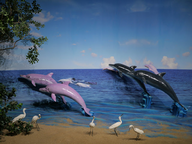 Diorama with dolphins and egrets at the Guangxi Planning Exhibition Hall