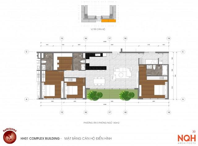 Mặt bằng căn hộ 143m - Anland Nam Cường