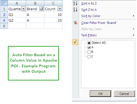 Excel Auto Filter - criteria Apache POI Example | ThinkTibits!