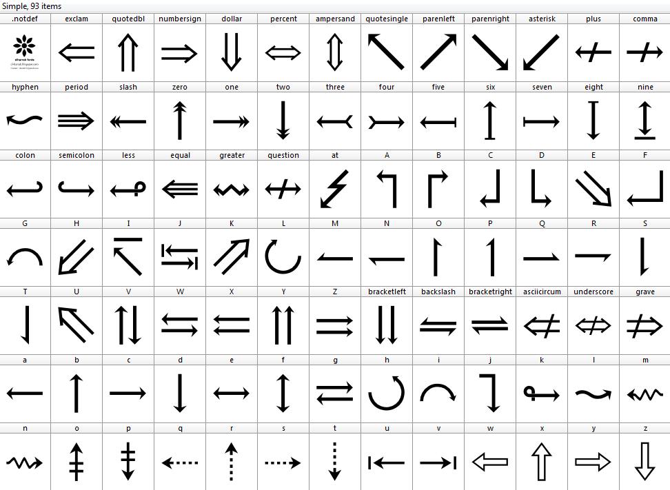 Download Font symbols font ttf 90 icons