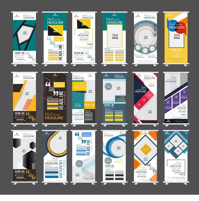 Standee banner templates collection colorful modern decor Free vector