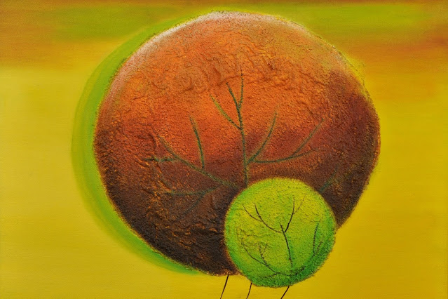Painting of two circles brown and green with texture