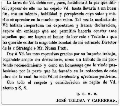 Parte final de la dedicatoria del Tratado analítico de los problemas de ajedrez de José Tolosa