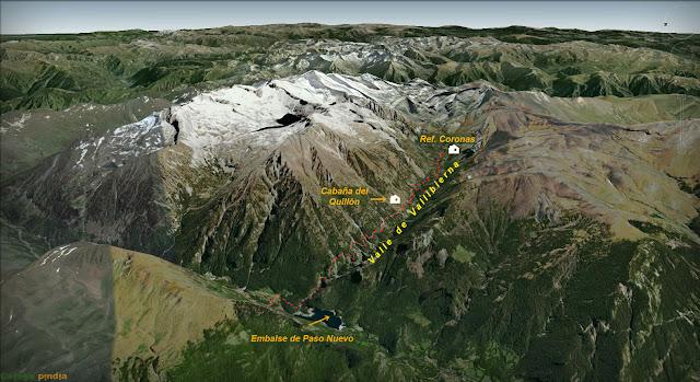 Mapa 3D de la ruta al Pico Aneto desde Coronas