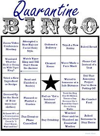 quarantine bingo card of activities and ideas