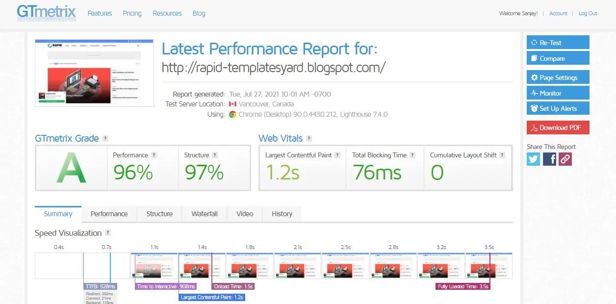 Rapid-blogger-template-web-speed-test