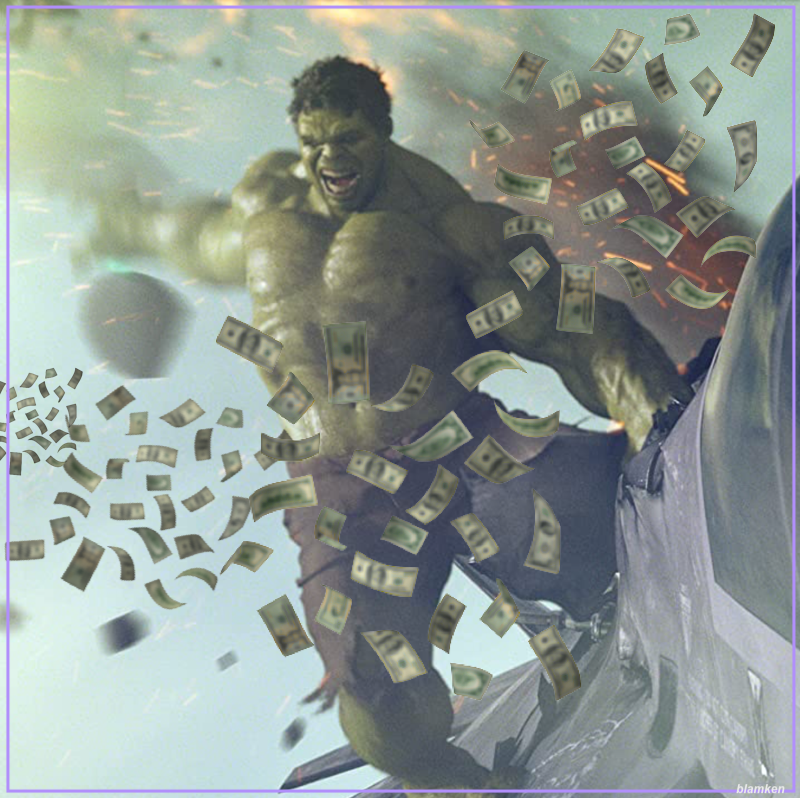 photo-illustration of Hulk in motion tearing open a plane and cash flying out