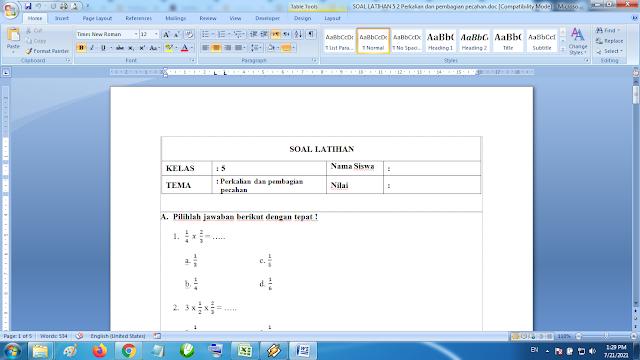 Download Soal Latihan Matematika Kelas 5 SD MI Perkalian dan Pembagian Pecahan K13 Terbaru