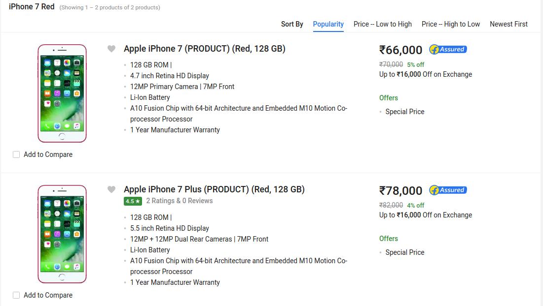 Deal Alert | Discount on Apple iPhone 7 Product Red on Flipkart
