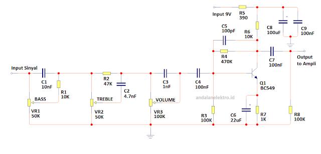 skema tone control aktif sederhana