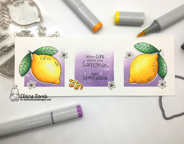 When life gives you lemons by Claire features Lemon Twist and Slimline Masking Circles & Squares by Newton's Nook Designs; #newtonsnook, #cardmaking, #inkypaws