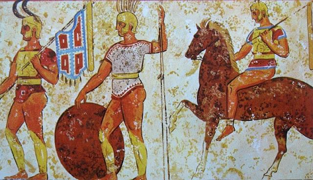 tiga orang gladiator samnite sedang berjalan ke arena
