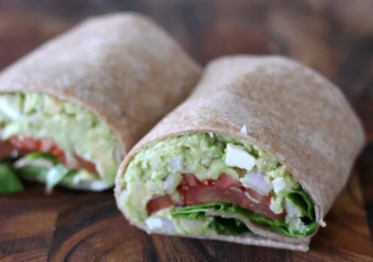 Chickpea Avocado Mash with Feta #wrap #vegan