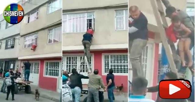 Venezolano rescató a una nina atrapada en las rejas de un balcón en Colombia