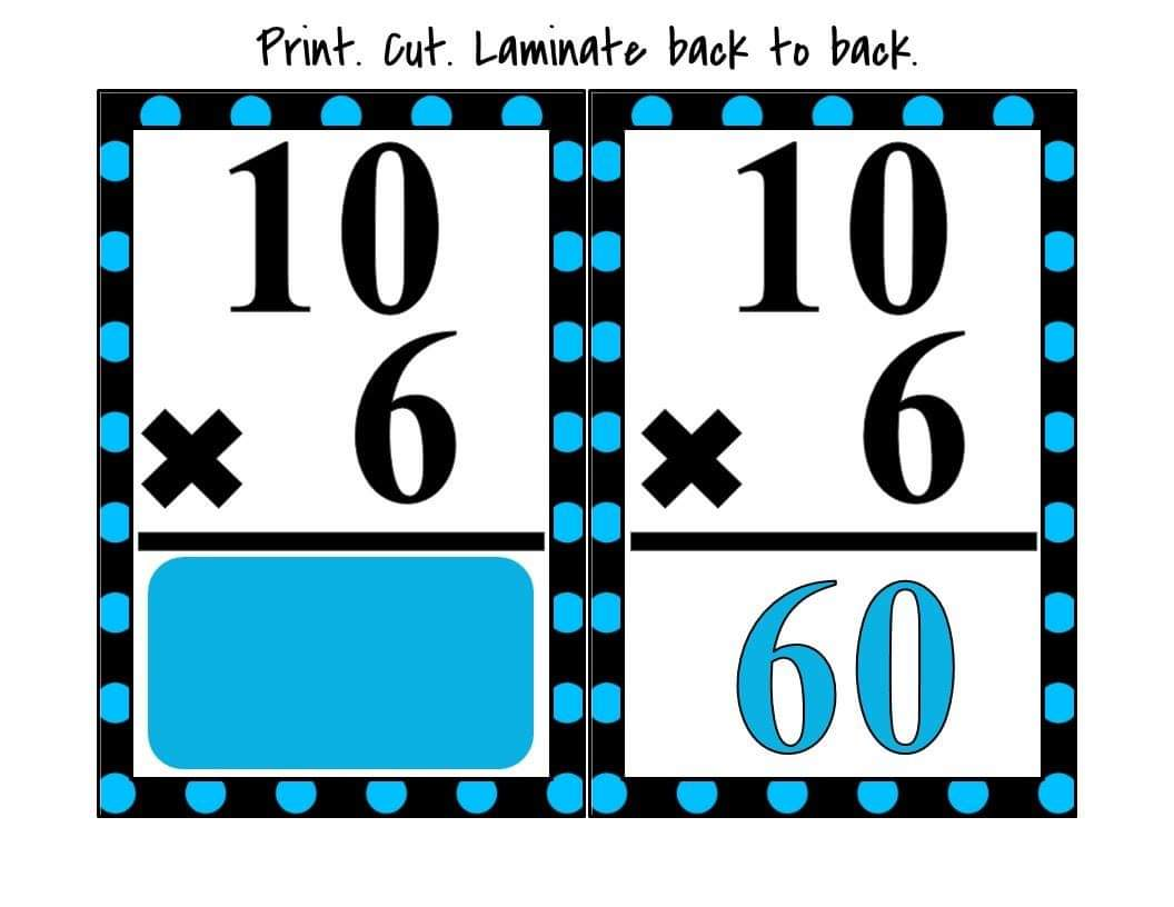 Back To Back Flash Card Of Multiplication 55 Sets