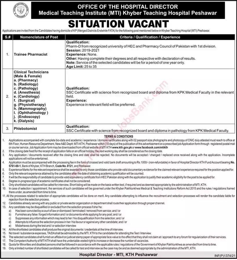 Latest Jobs in Pakistan Khyber Teaching Hospital Peshawar Jobs 2021 | Download Application Form