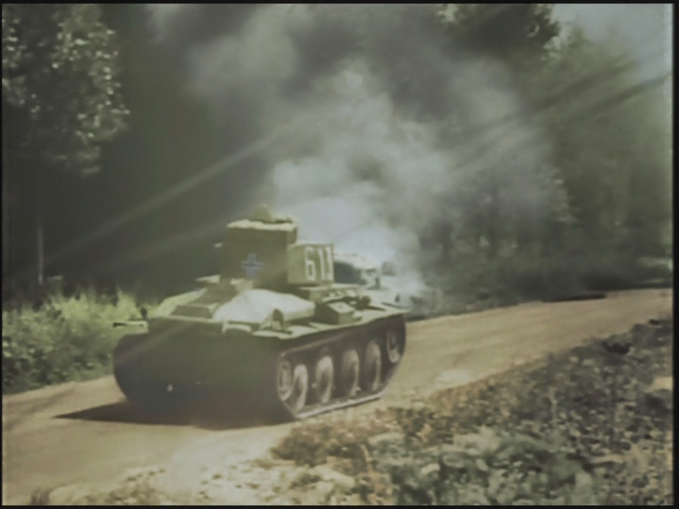 A German panzer advancing through the Ardennes
