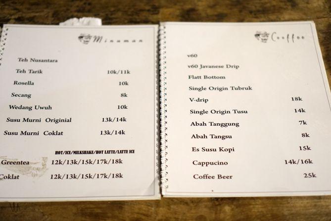 Daftar menu dan harga di Abah Kopi Cafe Jogja