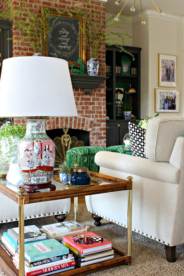 coffee table styling, chinoiserie lamp, spring living room, shelf styling