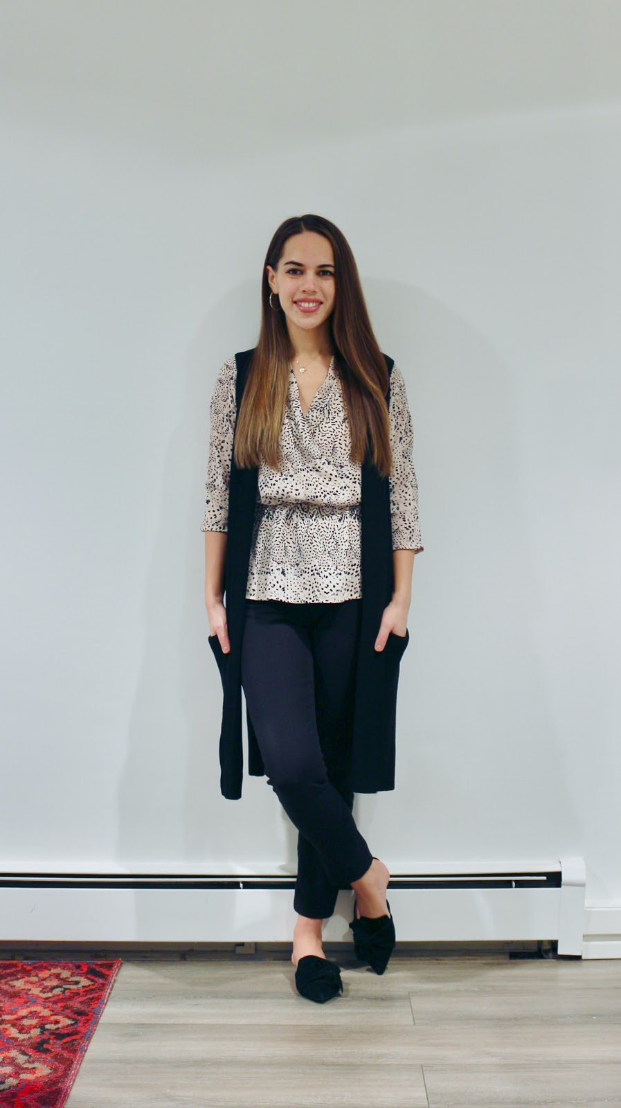 Jules in Flats - Patterned Peplum Blouse with Olivie Sweater Vest (Business Casual Winter Workwear on a Budget)