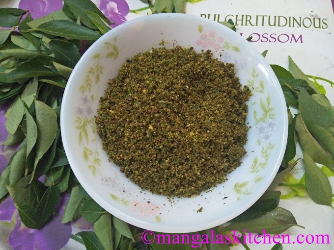 Karuveppilai podi in Traditional Style - Homemade Curry Leaves Powder