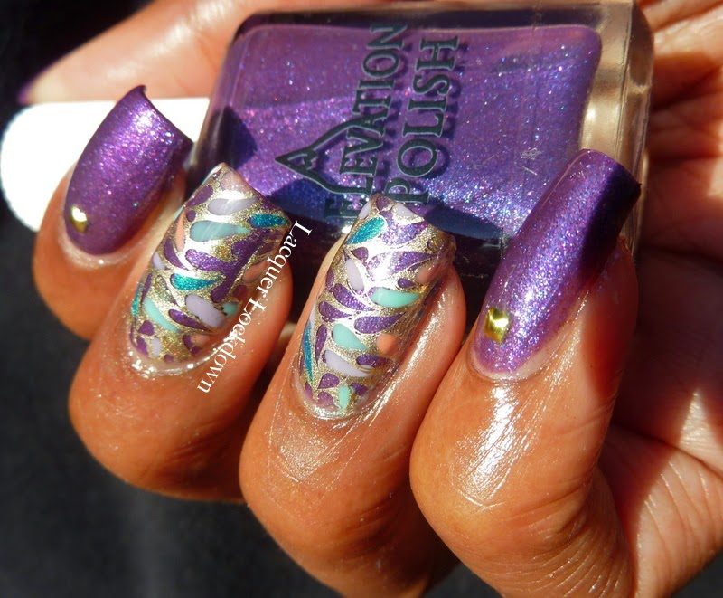Lacquer Lockdown - Elevation Polish, Elevation Polish Elberus 2, stamping, nail art, Elevation Polish Summit Collection #2, Messy Mansion, MM29,  holographic polish, studded nails, Mundo de Unas stamping polish, diy nail art, cute nail art ideas, cute spring nail art, new nail art ideas,
