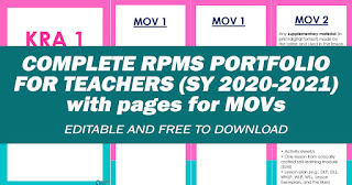 COMPLETE RPMS PORTOFLIO FOR TEACHERS (SY 2020-2021) Free to Download