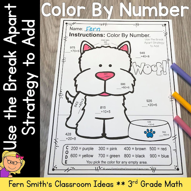 Click Here to Download This 3rd Grade Go Math 1.6 Use the Break Apart Strategy to Add Color By Number Resource For Your Classroom Today!