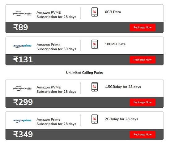 Airtel & Amazon PVME Subscription & Prime Recharge Plans