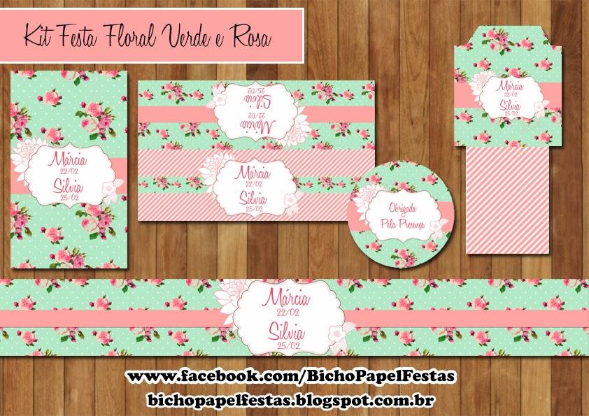 Kit Festa Digital Floral Verde e Rosa