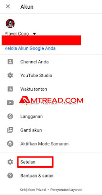 Tekan setelan atau setting - dark mode youtube di hp android