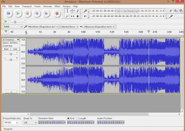 audacity portable, editar audios, interfaz de audacity