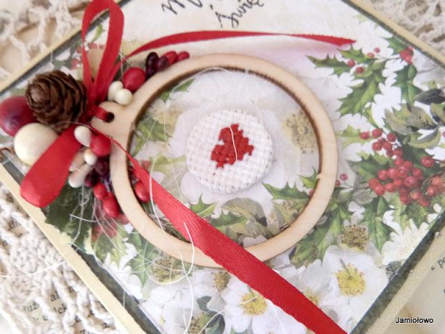 bożonarodzeniowa kartka z haftowanym sercem