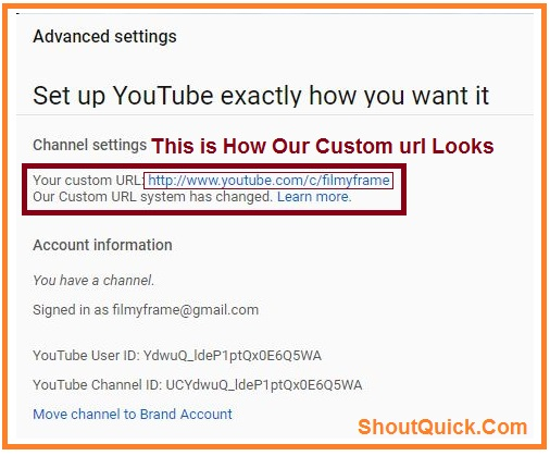 Custom url For youtube channel