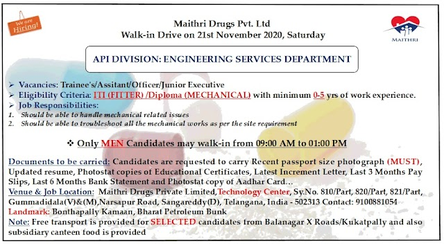 Maithri Labs | Walk-in for Freshers and Experienced in Engg Services on 21st Nov 2020 at Hyderabad