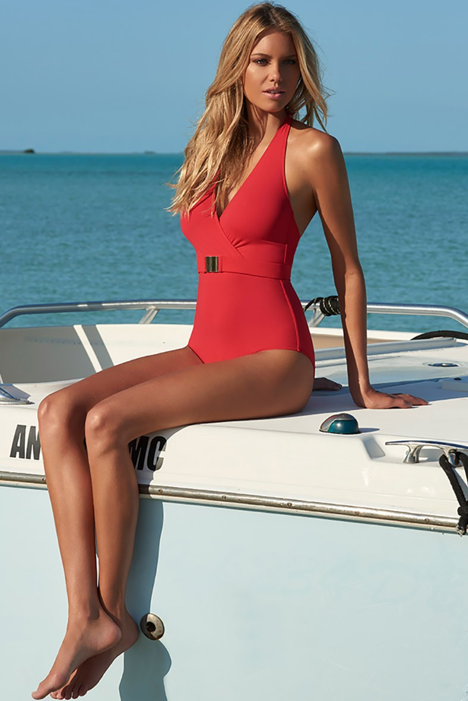 MELISSA ODABASH DOMINICA HALTERNECK SWIMSUIT RED