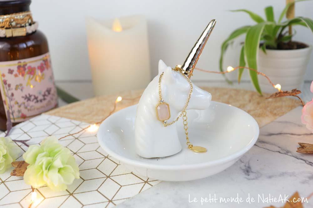 Bracelet panacea doré pierre quartz rose Emma & Chloé