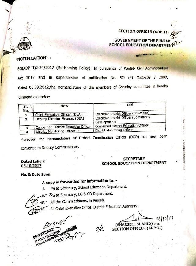 NOTIFICATION REGARDING CHANING OF NOMENCLATURE OF MEMBERS OF SCRUTINY COMMITTEE FOR RENAMING OF SCHOOL