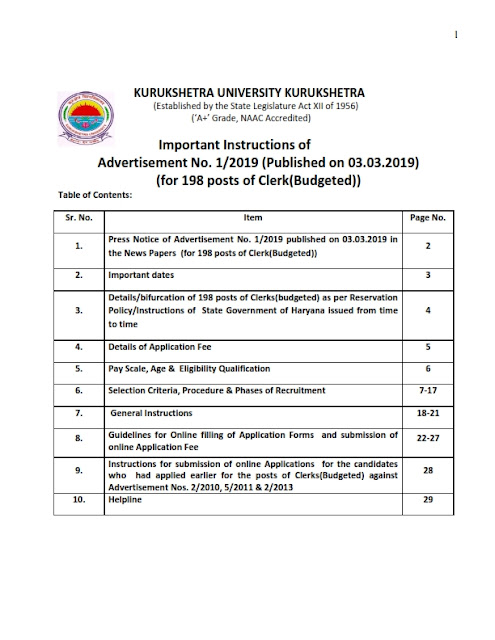 Recruitment of various posts in Kurukshetra University, Kurukshetra, Haryana(198 Posts)