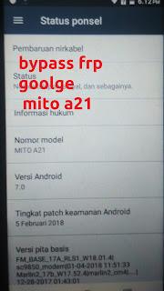 cara bypass frp akun google mito a21 free tested 100%