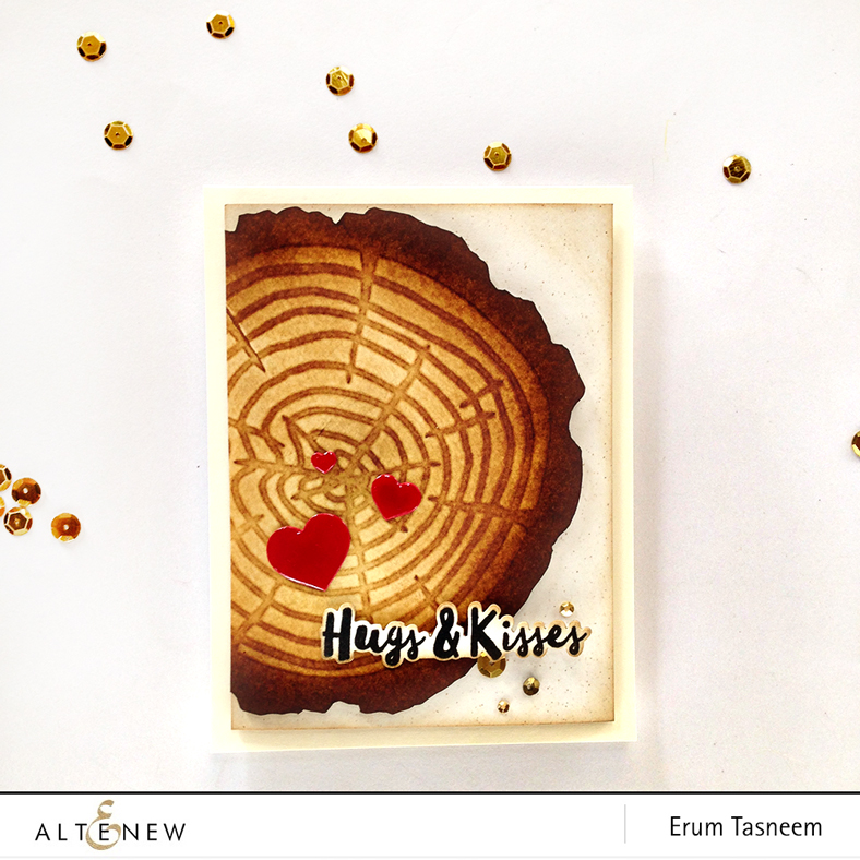 Altenew Tree Ring Stencil. Card by Erum Tasneem - @pr0digy0