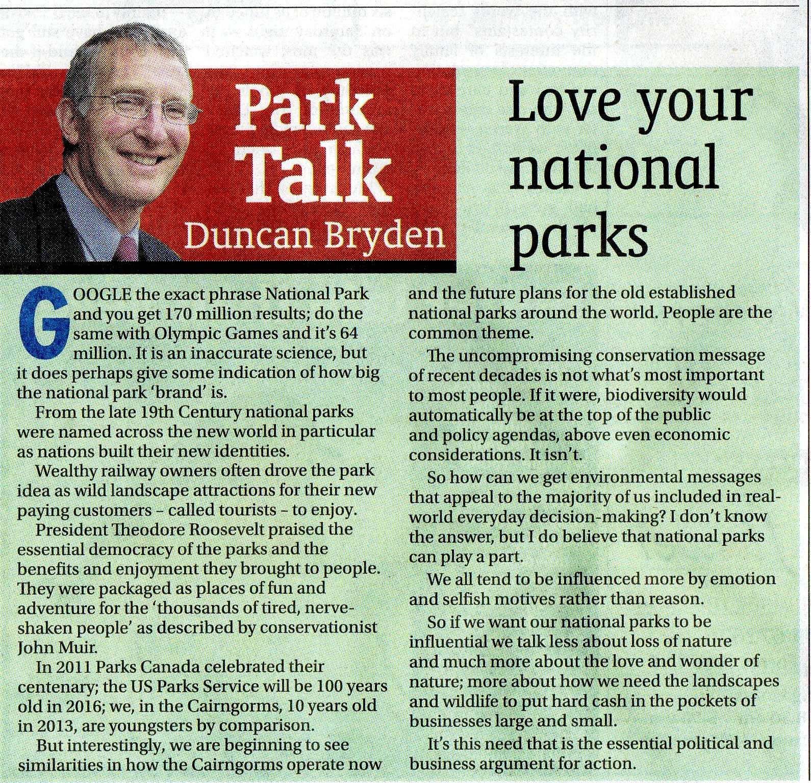 park make sentence