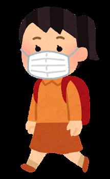 マスクを付けて歩く学生のイラスト(女子小学生)