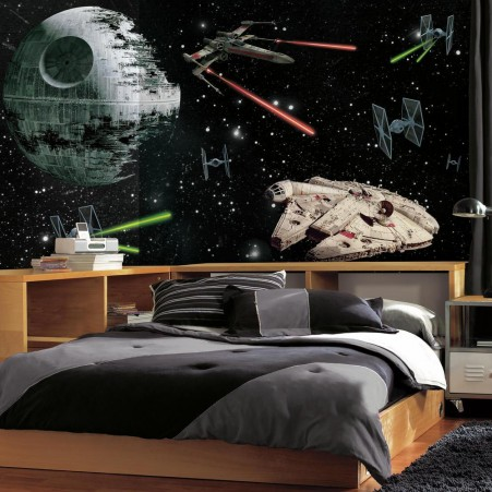 tapet star wars millennium falcon death star space rymden ungdomsrum killtapet pojktapet